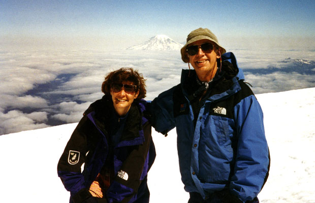 1995: With Lucy on the summit of Adams - Mt Rainier in the background.