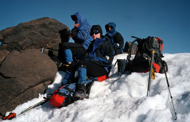 1998: Lucy and others resting on Piker's Peak ... in a nasty cold wind