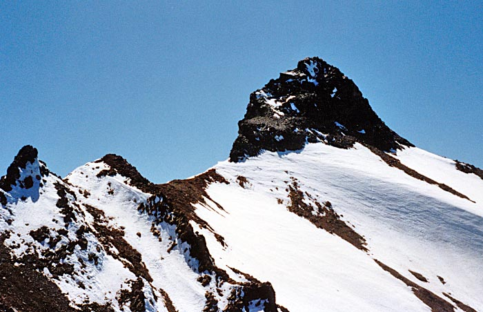 1987 Solo climb: The summit ridge and pinnacle viewed from my high point