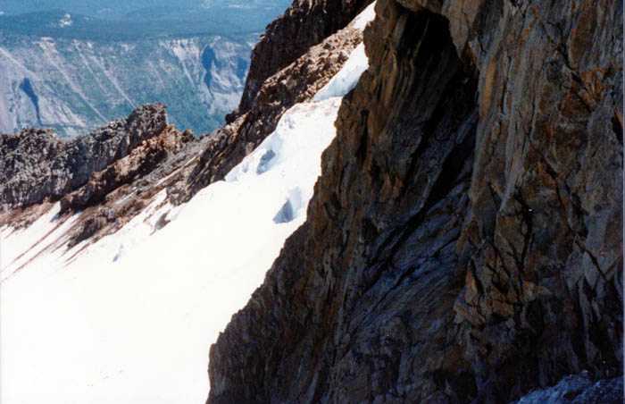1987 Solo climb: Considerable exposure along the ridge to my left