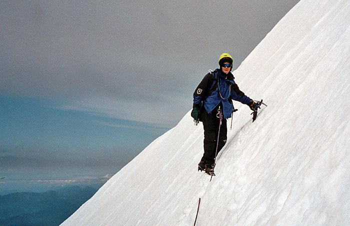 1997: Lucy: leading on the third and final roped belay to the summit pinnacle