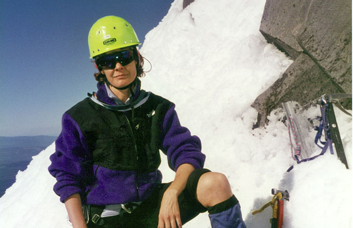1997: Lucy taking a break before we ascend the summit pinnacle.