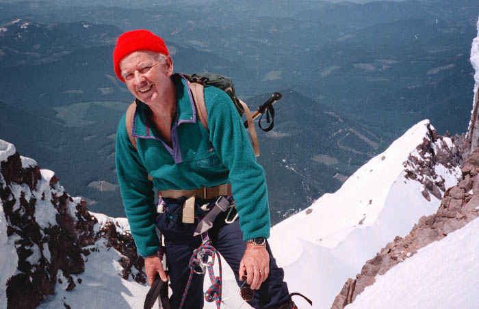 1997: Mal hanging out on the summit ridge at our high point for the climb
