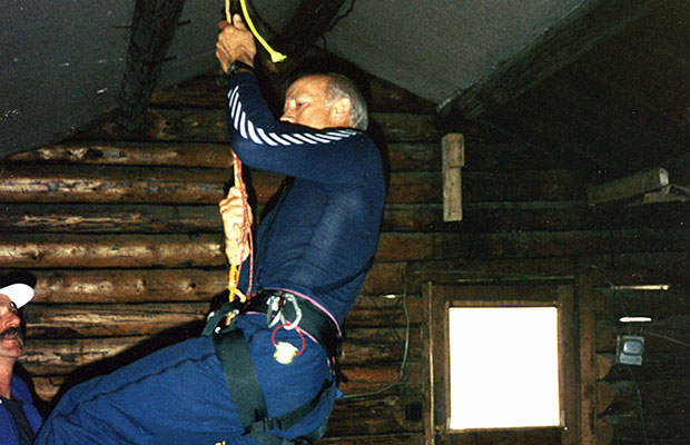 Peter hanging around during crevasse self-extraction training in the old Hudson cabin