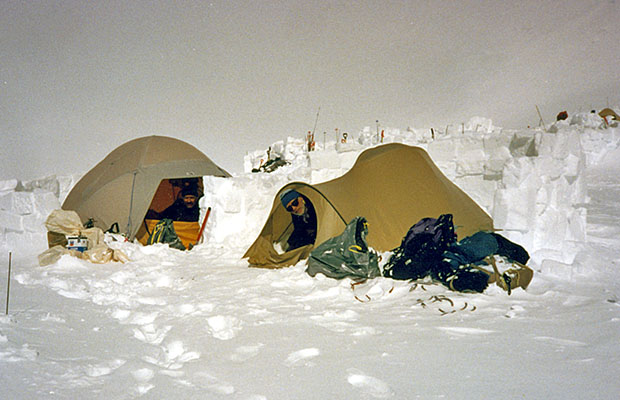 Our two tents, protected by snow blocks, at the 17,200' High Camp