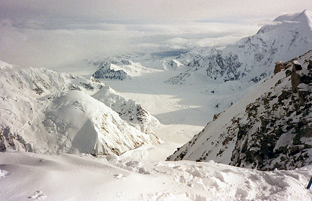 Looking down from the West Buttress ridge into the Kahiltna Glacier