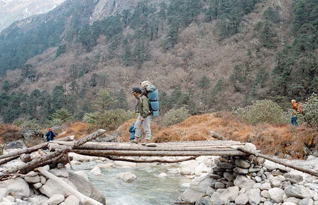 Dorje crossing the Hinku Khola