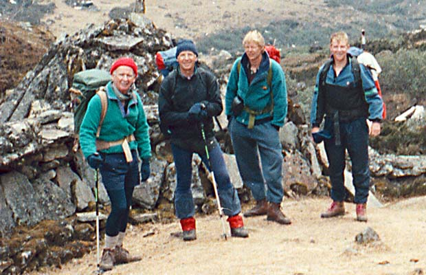 Mal, self, Pete and Russell on the approach to Tangnang.