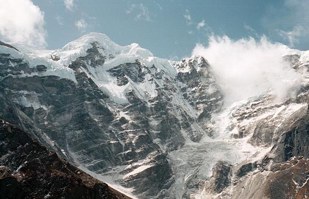 The north face of Mera Peak as seen from Dig Kharka.