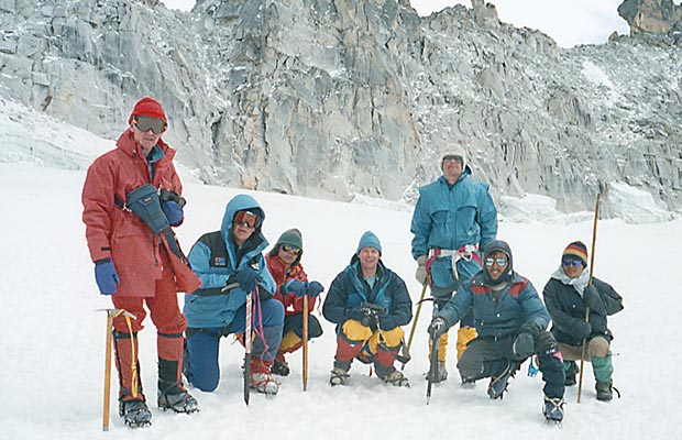 The climbing group near Mera La at 18,000'.  Mal, self, Pete, Russell, Martin and Mingma.