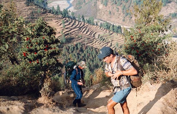 Mal and Martin climbing one of the many ridges across the grain of the country.