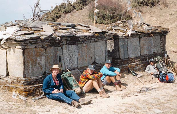 A mani wall on one of the ridges. Mal, Pete Twethewey, Martin and Dorje.
