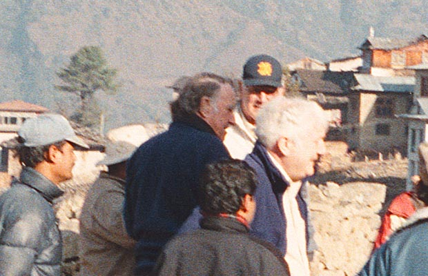 At the Lukla airstrip with Sir Edmund Hillary.
