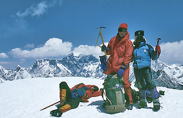 Pete [lying down], Mal and Dorje on the summit of Mera Peak.
