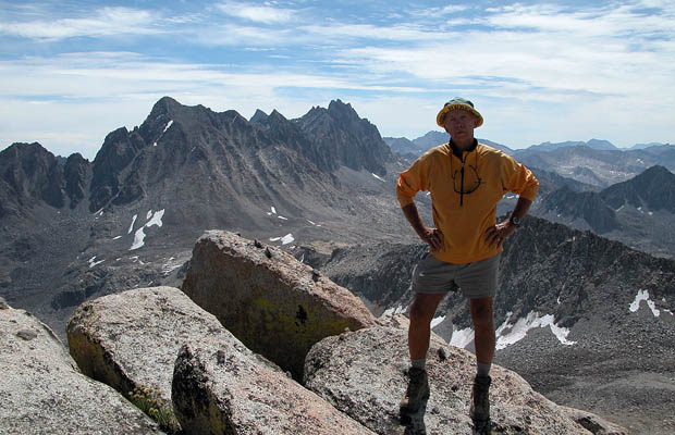 Peter on the 13,100' summit of Mt Goode.  Mt Agassiz behind.