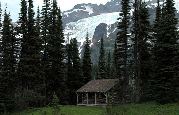 The Ranger cabin at Indian Henry's Hunting Ground. The Tahoma glacier behind