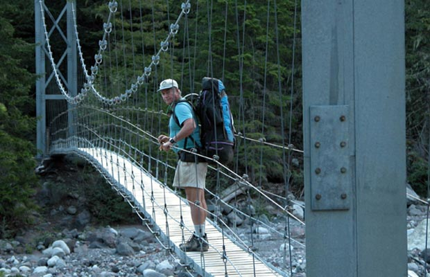"The swing-bridge across the Carbon River ... ""one person at a time"""