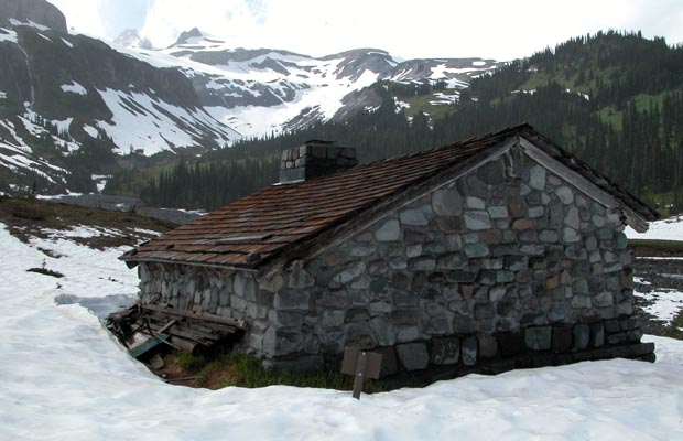 The stone hut at Indian Bar. The snow covered ridges we'd descended above.