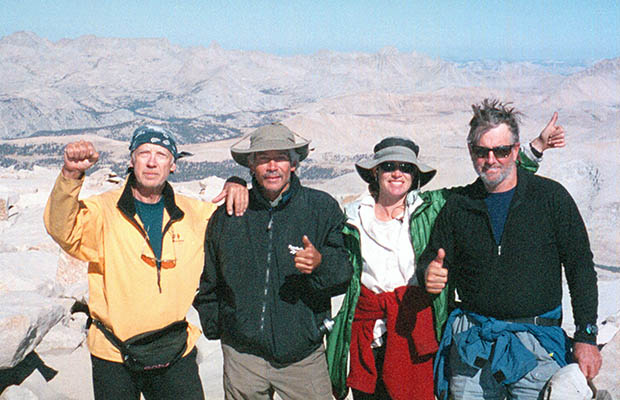 September 2002:  With friends at the end of my first JMT hike - on the summit of Whitney.