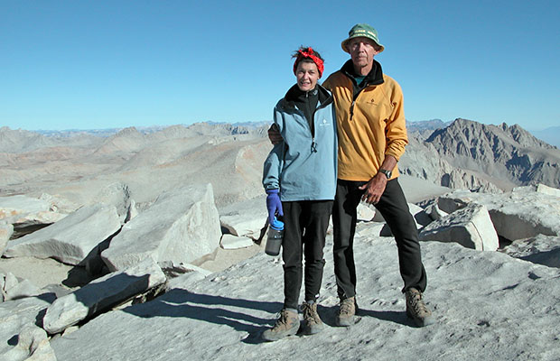 September 2004:  At the end of my second JMT hike [with Lucy] - on the summit of Whitney.