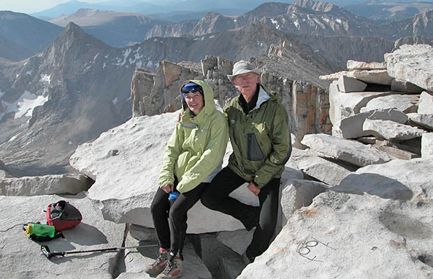 August 2006: Lucy and self at the end of our annual JMT hike - on the summit of Whitney.