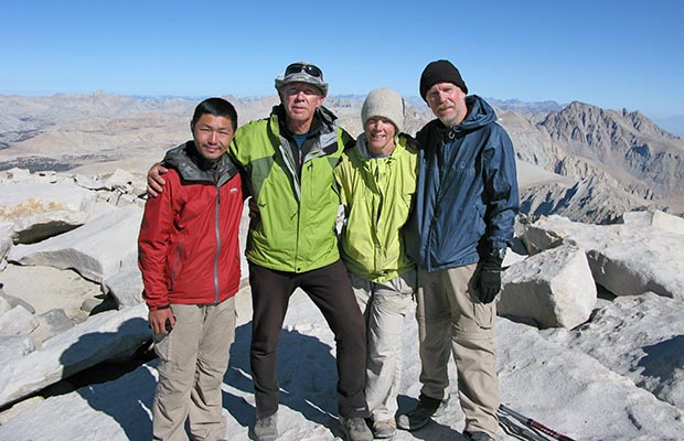 August 2009:  With friends at the end of my sixth JMT hike - on the summit of Whitney.