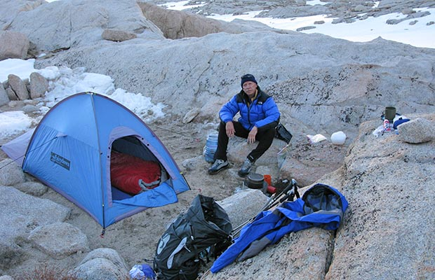 May 2009: At Trail Camp on a Spring climb of Whitney with Jim Keogh.