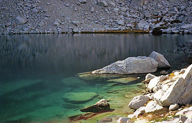 October 1991: Upper Boy Scout Lake - calm and inviting, but very cold!