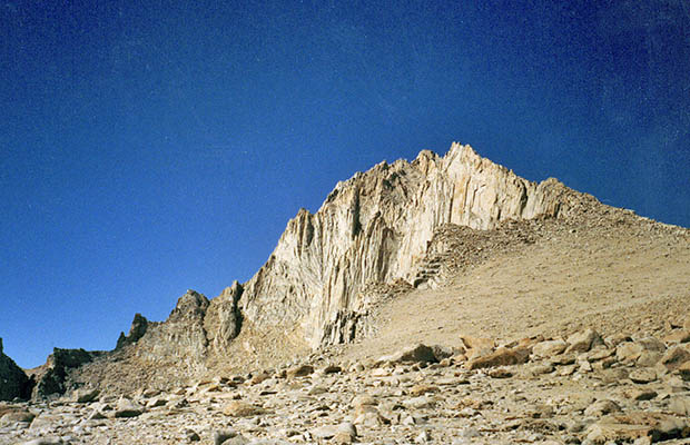 October 1991: The east ridge of Mt. Russell as seen from the Carillon plateau.