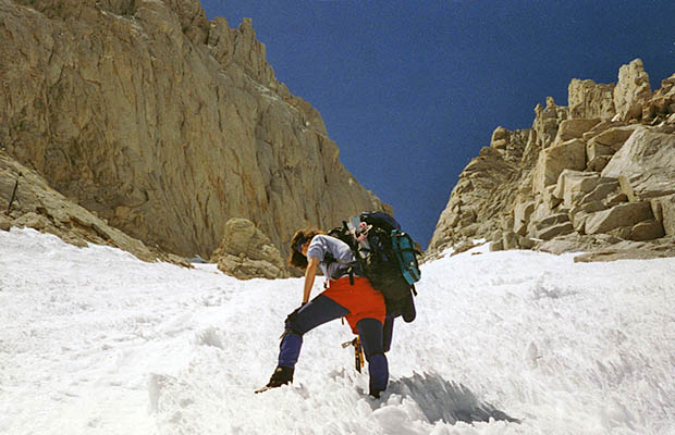 April-May 1996: Lucy ascending the Mountaineer's Route Couloir, filled with snow