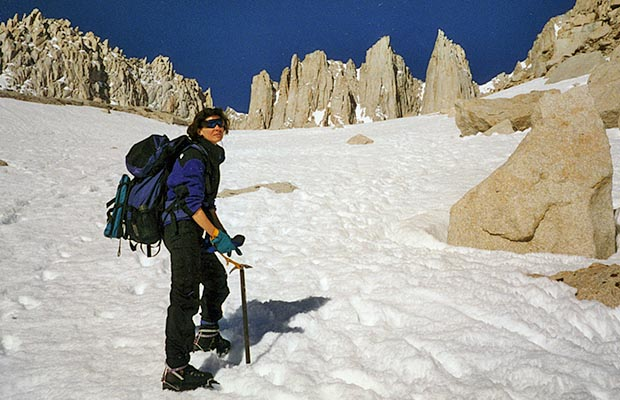 April-May 1996: Lucy on our descent from Trail Camp.  Plenty of snow this time of year.