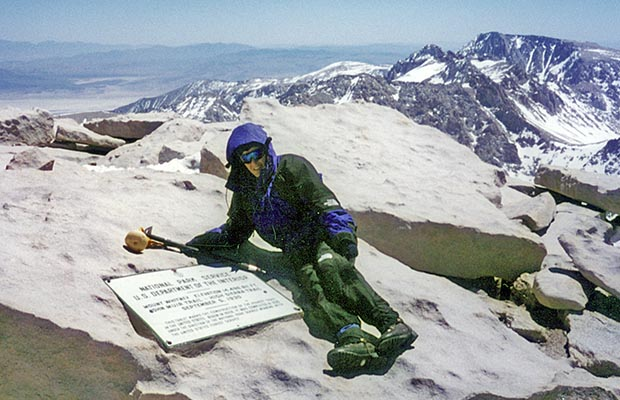April-May 1996: Lucy resting on the summit of Mt. Whitney.