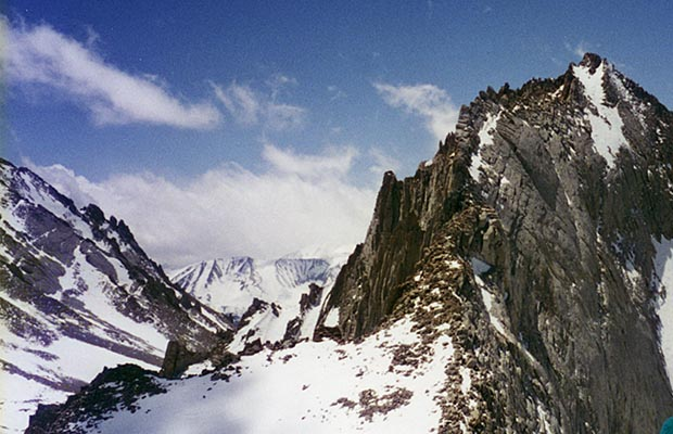April-May 1996: On the Carillon plateau, looking up the east ridge of Mt. Russell.