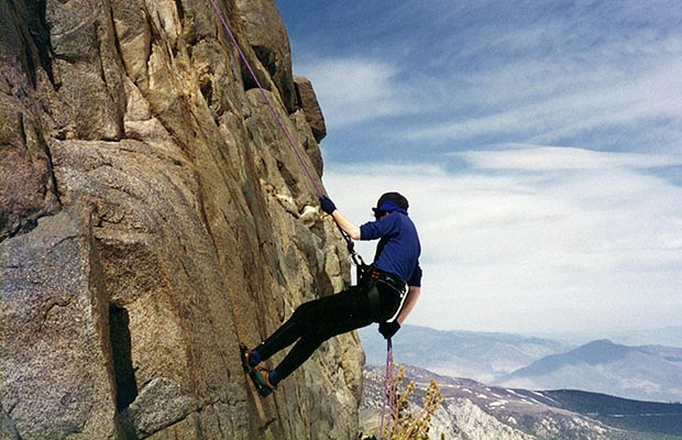 April-May 1996: Lucy practicing rappelling on the Mountaineer's Route